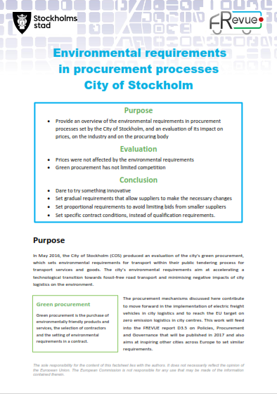 New FREVUE factsheet: discover Stockholm's procurement